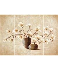 Bild Kunstdruck Vasen mit Magnolien (4-tlg.) HOME AFFAIRE natur