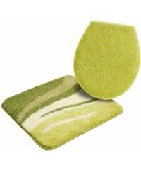 Badematte Hänge WC-Set Wave Höhe 25mm rutschhemmender Rücken MY HOME grün 10 (2-tlg Hänge-WC-Set)