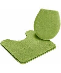 MY HOME Badematte Stand-WC-Set Sanremo Höhe 30 mm Microfaser rutschhemmender Rücken grün 9 (2-tlg Stand-WC-Set)
