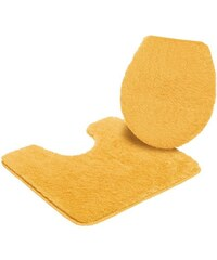 MY HOME Badematte Stand WC-Set Merida Höhe 32 mm rutschhemmender Rücken gelb 9 (2-tlg.Stand-WC-Set)
