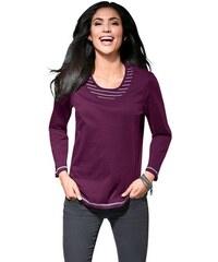 CLASSIC BASICS Damen Classic Basics Shirt mit Kontrast-Einsätzen an Ausschnitt rot 38,40,42,44,46,48,50,52,54,56