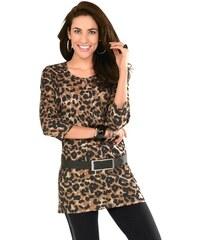 Damen Classic Basics Longshirt mit dekorativem Rundhals-Ausschnitt CLASSIC BASICS braun 38,40,42,44,46,48,50,52,54,56