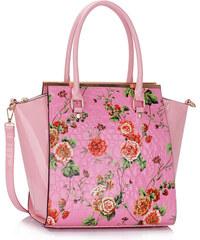 LS fashion LS dámská retro kabelka s květy LS00364 růžová