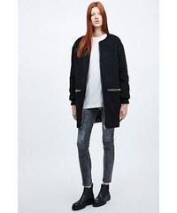 Light Before Dark Collarless Textured Zip Coat in Black