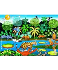 Bali Blue Paréo Forêt Tropicale Avec Animaux - Canga Pantanal Naif