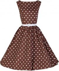 Retro šaty Lindy Bop Audrey Chocolate Polka 46
