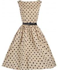 Retro šaty Lindy Bop Audrey Mocha Polka