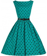 Retro šaty Lindy Bop Audrey Turquoise Polka 40
