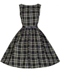 Retro šaty Lindy Bop Audrey Tartan Black