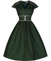Retro šaty Lindy Bop Polly Bottle Green 44