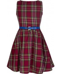 Retro šaty Lindy Bop Mini Audrey Red Tartan