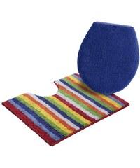 Ecorepublic Badematte Stand WC-Set Tim beidseitig verwendbar Bio Baumwolle blau 9 (2 tlg. Stand WC Set)