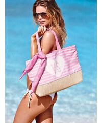 Plážová pruhovaná taška Victoria´s Secret s růžovým šátkem