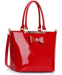 LS fashion LS dámská lakovaná kabelka s mašlí 326A červená