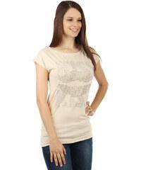 TopMode Módní tričko s výrazným kamínkovým potiskem béžová