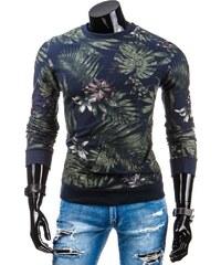 streetIN Pánská mikina s květinami – modrá Velikost: 2XL