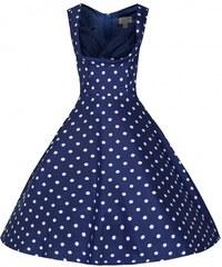 Lindy Bop retro šaty Ophelia modré s bílým putníkem velikosti: 38