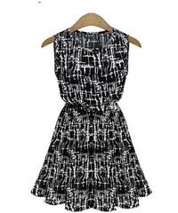 002 Vzorované letní černobílé šaty vel. M