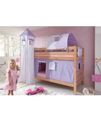Kinder RELITA Einzel-/Etagenbett Set 4-tlg. purple/weiß, Herz