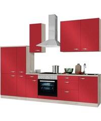 OPTIFIT Küchenzeile mit E-Geräten Faro Breite 300 cm rot