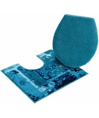 GRUND Badematte Stand WC-Set Grund Amay Höhe 20 mm rutschhemmender Rücken blau 9 (2 tlg. Set für Stand-WC)