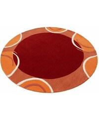 Teppich rund exklusiv Bellary handgearbeiteter Konturenschnitt handgetuftet reine Schurwolle THEKO EXKLUSIV orange 10 (Ø 190 cm)