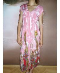 00* Dlouhé letní šaty růžové