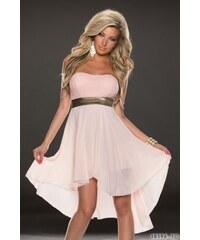 Dámské společenské šaty Tibian růžové - bílá