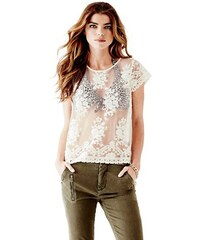 Guess Triko Embroidered Lace Tee