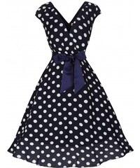 Retro šaty Lindy Bop Mary Ellen Navy Polka