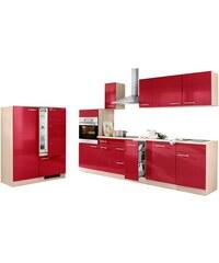 Baur Küchenzeile mit E-Geräten Basel Breite 290 cm rot