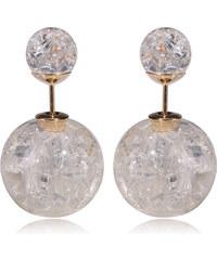 003 Naušnice oboustranné perly - skleněné