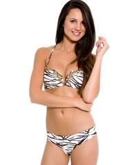 Ondademar Bikini Bandeau Zébré Marron Et Beige Avec Perles - Safari Beads