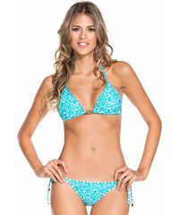 Ondademar Bikini Triangle Coulissant Turquoise Et Blanc - Aqua Mandala
