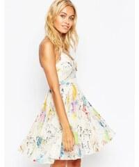 ASOS - Mini robe caraco plissée transparente et opaque à imprimé tropical - Multi