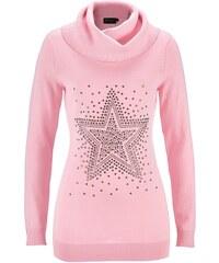 bpc selection Rolákový pulovr s štrasovou aplikací hvězdiček bonprix