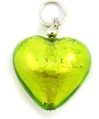 Murano Přívěsek skleněné srdíčko - zelená - 18