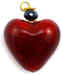 Murano Přívěsek skleněné srdíčko - červená - 25