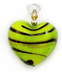 Murano Přívěsek skleněné srdíčko - zelená - 25
