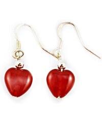 Murano Náušnice korálky tvar srdce - červená - Gaia - benátské sklo
