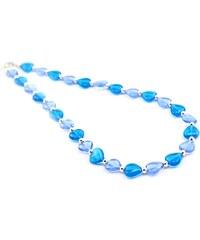 Murano Náhrdelník korálky tvar srdce - světle modrá - Gaia