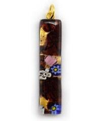 Murano Přívěsek skleněný - hnědá, zlatá - Viola