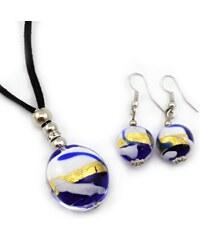 Murano Sada náhrdelník a náušnice - skleněná perla - modrá, zlatá, bílá