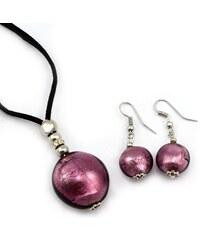 Murano Sada náhrdelník a náušnice - skleněná perla - fialová