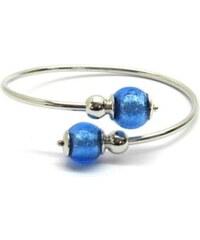 Murano Náramek stříbro 925 - italská vinutá perla Dora - modrá - Venere - benátské sklo