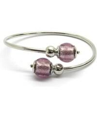 Murano Náramek stříbro 925 - italská vinutá perla Dora - fialová - Venere - benátské sklo