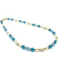 Murano Náhrdelník skleněné korálky - světle modrá, bílá - Cristina