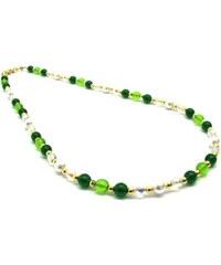 Murano Náhrdelník skleněné korálky - zelená, bílá - Cristina