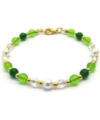 Murano Náramek skleněné korálky - zelená, bílá - Cristina - benátské sklo