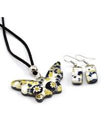 Murano Sada náhrdelník a náušnice - skleněný šperk - modrá, stříbrná - Motýl